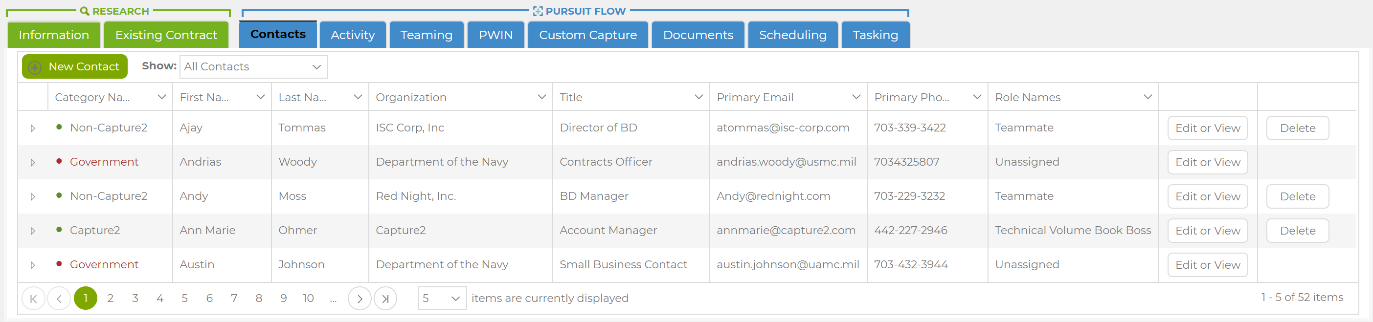 Manage Government, Business Development, Capture, Proposal and Teammate Contacts