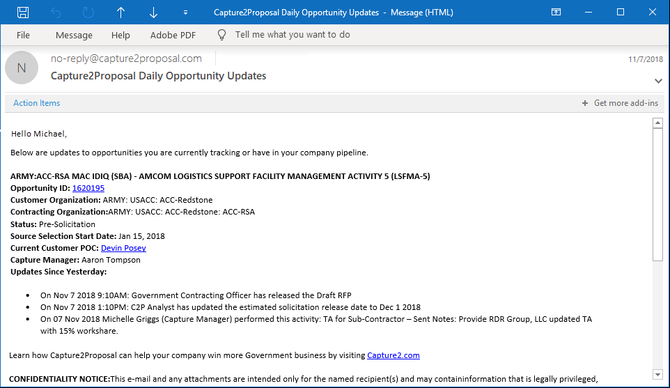 C2P Government Business Opportunity Updates - Analyst, Government, BD, Capture, and Proposal Teams Activities in One Notification