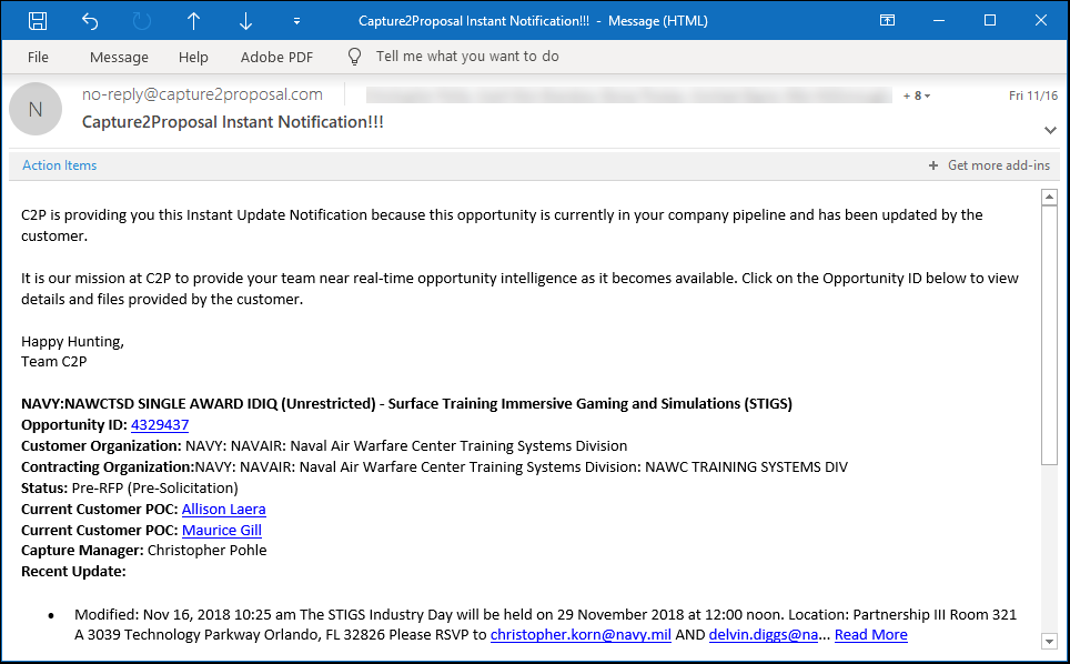 Stay Up-To-Date On Any Changes to Your Opportunity Pipeline Through Capture2's Instant Email Notifications.
