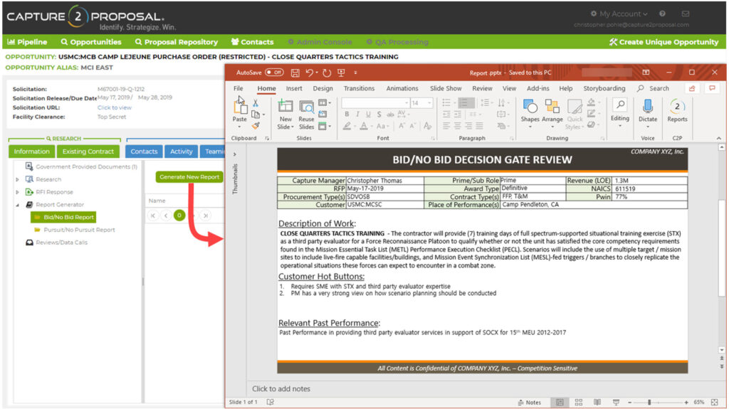 Generate Reports into Powerpoints & Other Templates for Fast, Easy Documentation and Efficient Business Development Processes.